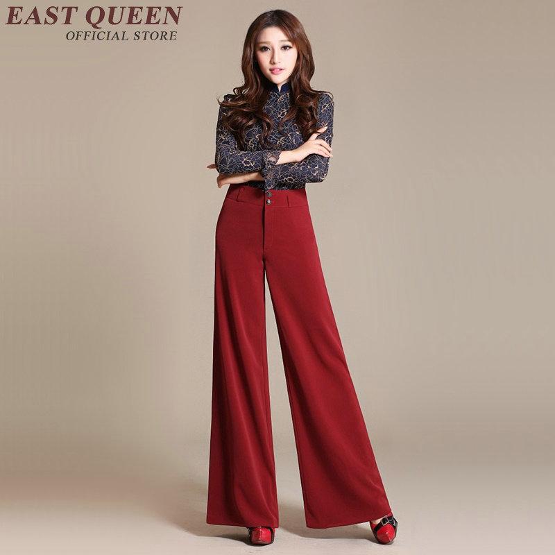 Yq 2 Mujer De Señoras Elegante Sexy 3 Aa2487 Alta 4 Pantalones 1 Ancha Mujeres Pierna Social Cintura z7q5w7