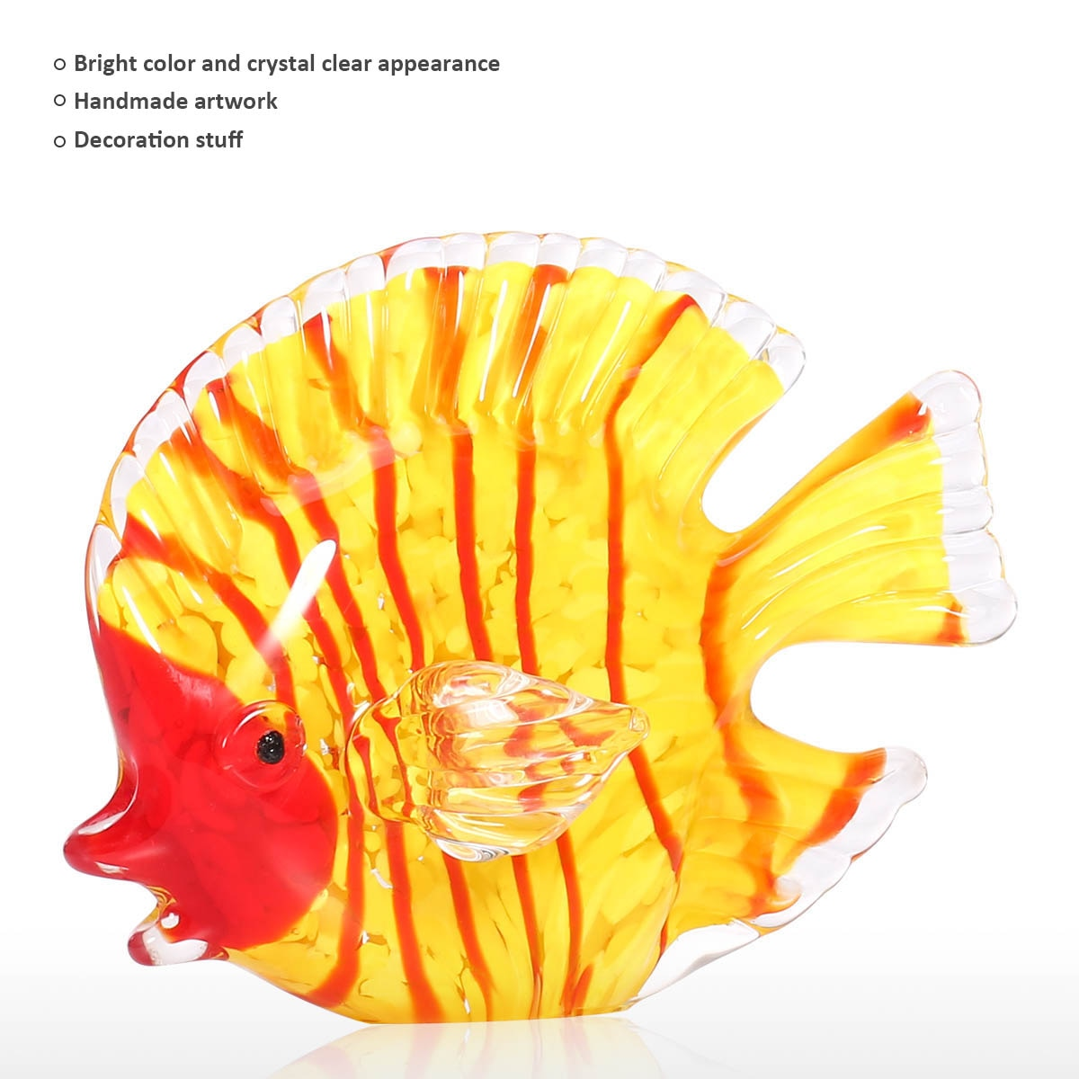 Yellow Fish Hand Blown Glass Sculpture Morden Art Glass Sculpture Figurine Home Decoration Accessories for Living Room