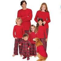 Gia đình giáng sinh đồ ngủ cha con trai con gái mẹ bé phù hợp với quần áo bộ England kẻ sọc phong cách gia đình look