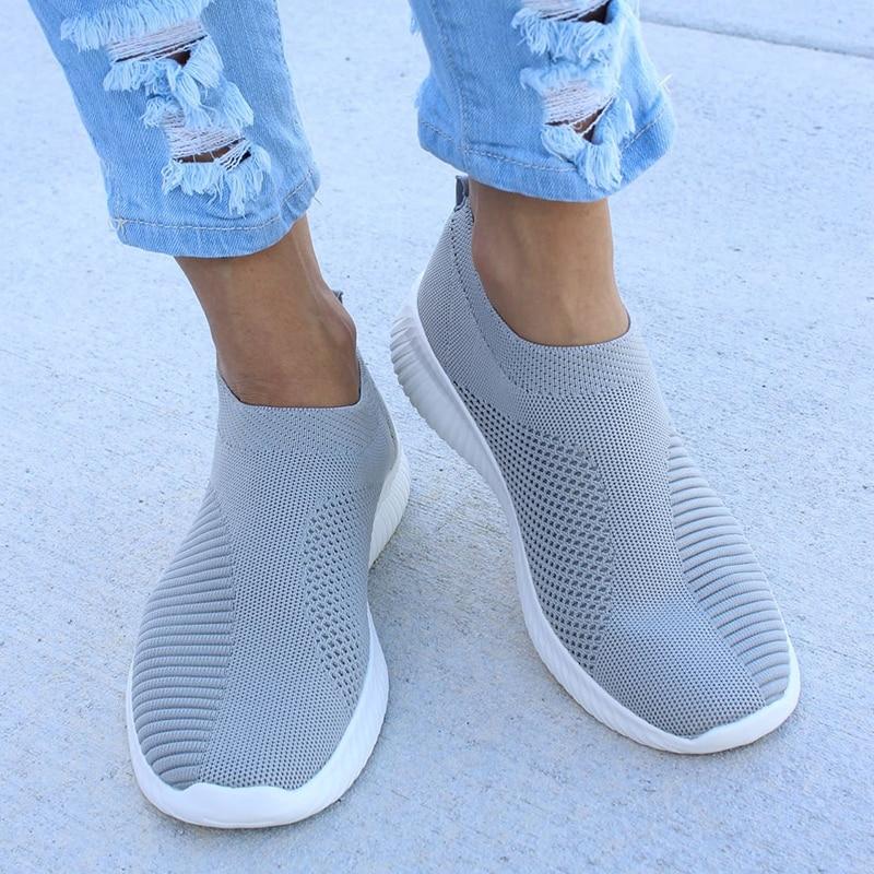 UPUPER Light Sneakers Women Breathable Mesh Vulcanized Shoes Outdoor Flat Slip-On Sock Shoes Women For Walking Plus Size 35-43 5
