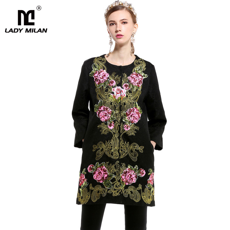 Luxury New Arrival 2018 Spring Womens O Neck Long Sleeves Embroidery Jacquard Elegant Runway Trench Coats Outerwears