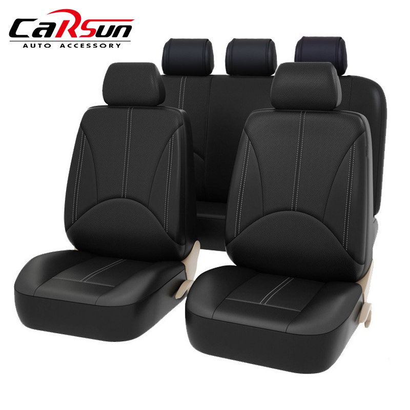 New Universal PU Black Leather Split Bench Auto Seat Cover Full Set Airbags Compatible and Split Bench Cover High Quality