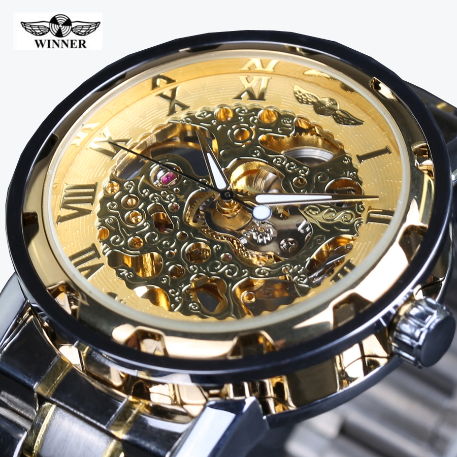 Classic Brand WINNER Men Skeleton Mechanical Watch Transparent Steampunk Hand Wind Full Stainless Steel Montre Homme Wristwatch sewor golden men skeleton mechanical watch stainess steel steel diamond watches transparent steampunk montre homme wristwatch