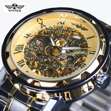 Classic Brand WINNER Men Skeleton Mechanical Watch Transparent Steampunk Hand Wind Full Stainless Steel Montre Homme Wristwatch