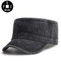 PLZ Vintage Washed Cotton Military Cap Men Hat Fashion Flat Cap Adjustable Captain Cap Winter Brim