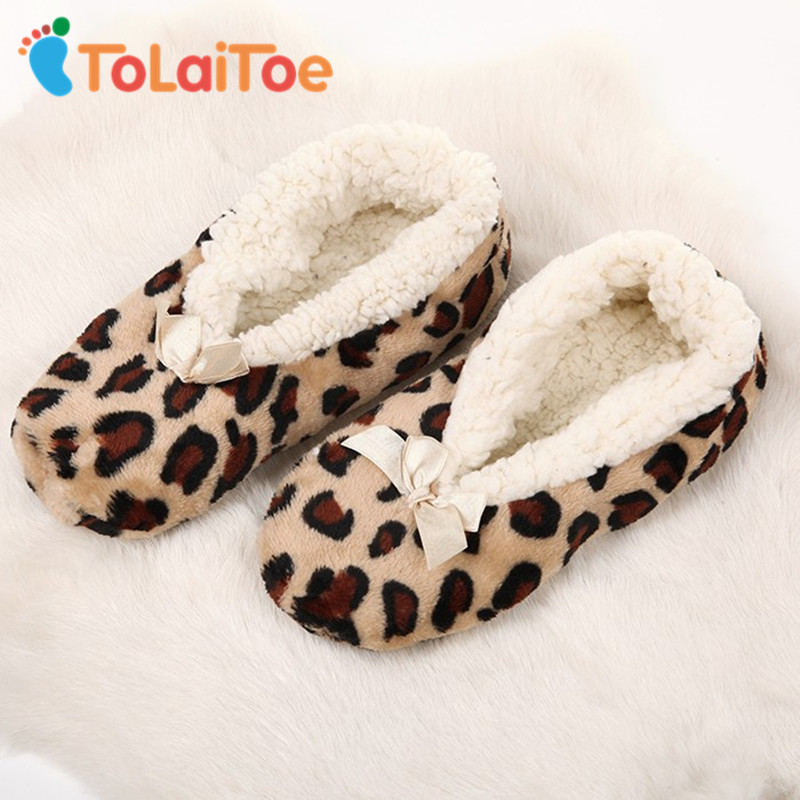 ToLaiToe Home Soft Plush Leopard Slippers Coral Fleece Indoor Home Shoes Floor Sock Indoor Winter Foot Warmer household Slippers suihyung women winter warm soft sole plush cotton padded shoes coral fleece home slippers indoor shoes foot warmer floor socks