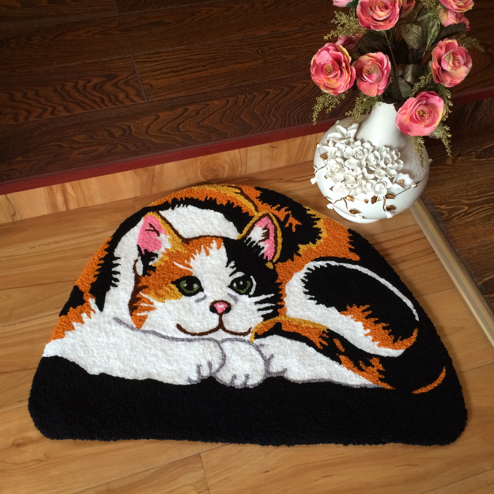 Free Shipping Cat Area Rug Black Handmade Rug Animal Rugs