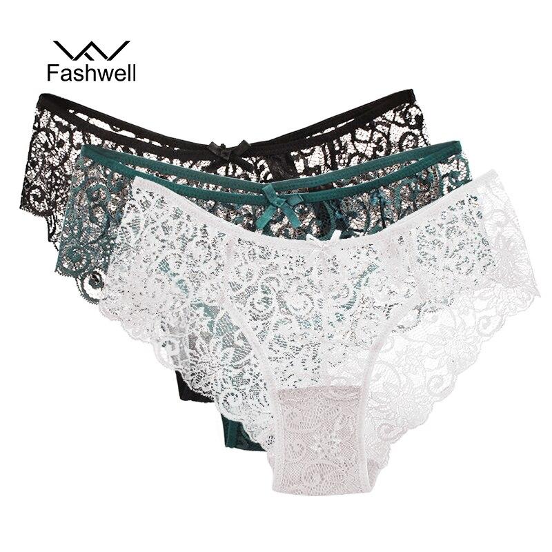 Fashwell New Transparent Plus Size Lace Women's   Panties   Underwear Women black Soft Briefs Sexy Lingerie Low Waist 3 pieces/lot