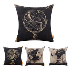 LINKWELL 1PC 45x45cm Retro Black American Style Globe Tellurion Man Cave Garage Burlap Cushion Covers Pillowcase Home Astroscope