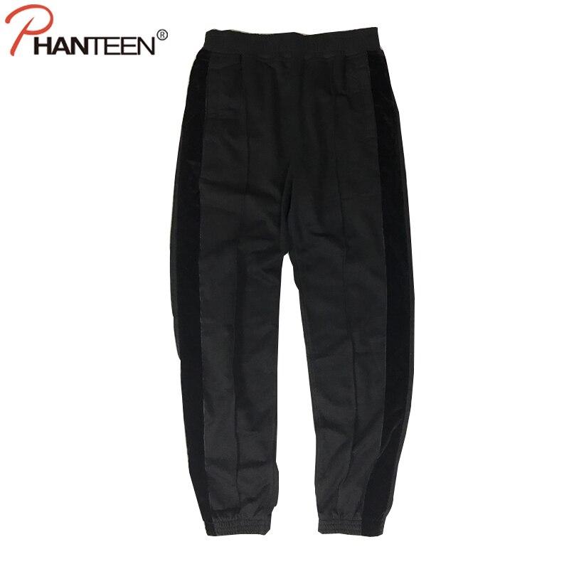 Phanteen Spring Autumn Man Pants Black Color Side Velvet Stripe Loose Casual Trousers Fashion Men Hiphop Cotton Sweatpants