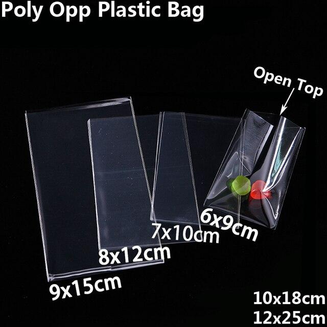 Bolsas de plástico transparentes abiertas para galletas, dulces, juguetes, joyas y comida, bolsa de embalaje, fiesta de cumpleaños de Navidad, bolsa de regalo de plástico de polietileno