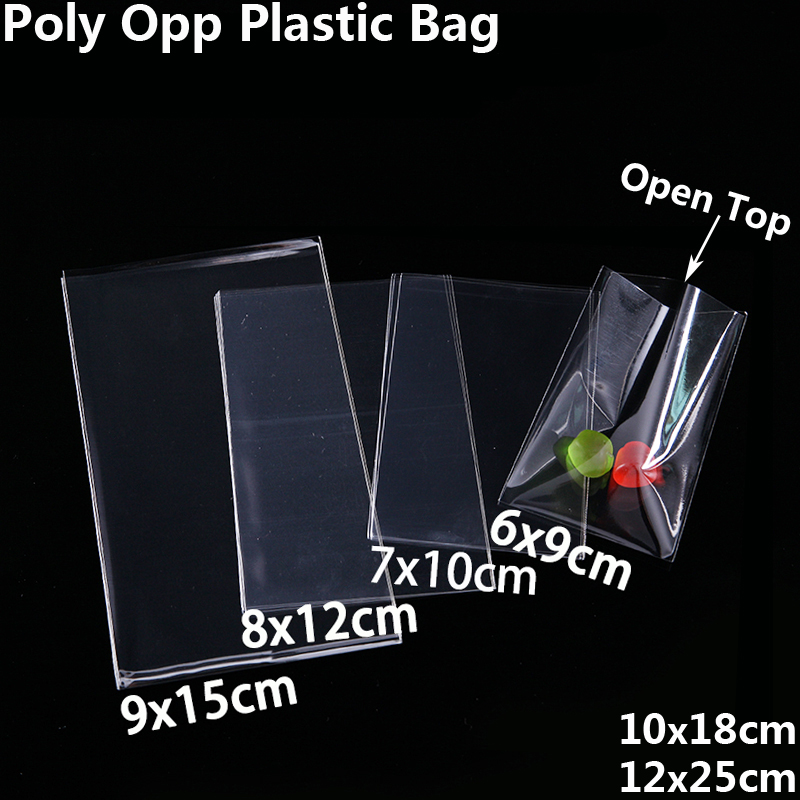 Trasparente Open Top Sacchetti di plastica per biscotti Candy Toy Jewelry Food Packaging Bag Natale festa di compleanno fai da te sacchetto Poly OPP Gift Bag