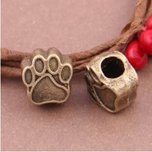 10pcs/lot Antique Bronze Bear Paw European Beads Zinc Alloy Animal DIY Jewelry Bead Fit Charm Bracelet