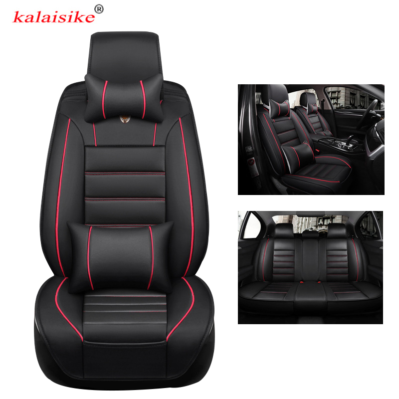 kalaisike universal leather car seat covers for Mercedes Benz all models E C CLS S A B CLK SLK G GLS GLE GL ML GLK GLA CLA class car steering wheel emblem stickers for benz a b e s gle glk gla