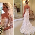 New Fashion Mermaid Sweetheart Sash Lace Wedding Dress 2016 Sexy Covered Buttons Court Train Bridal Gowns Vestido De Noiva