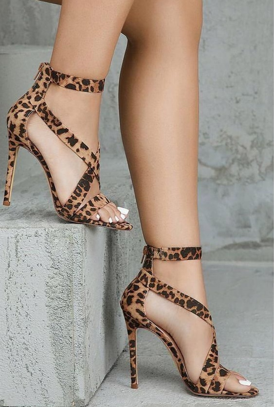 Leopard Cross Strap Sandals High Heel Cut Out Zip Stiletto Summer Shoes Sexy Lady Dress Party Footwear in High Heels from Shoes