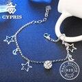NÃO FALSO 100% 925 esterlina braceletes de prata fina pura autêntica sólido lady girl friend presente hot cypris estrela lua bola charme