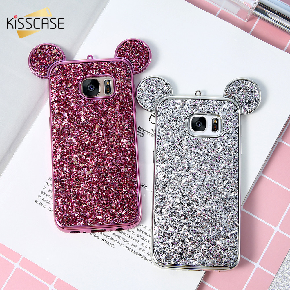 KISSCASE Mickey Mouse Ears Case For Samsung Galaxy S8 Plus S7 S6 Edge Luxury Glitter Sequins Slim Soft TPU Case For Galaxy S8 S7