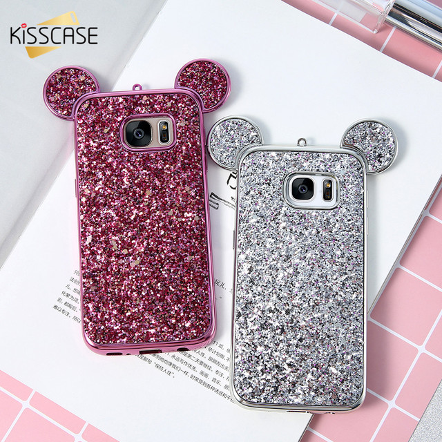 separation shoes 2fb51 09e0c US $3.99 20% OFF|KISSCASE Mickey Mouse Ears Case For Samsung Galaxy S8 Plus  S7 S6 Edge Luxury Glitter Sequins Slim Soft TPU Case For Galaxy S8 S7-in ...