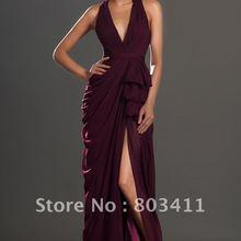 Новое поступление фантастический Холтер спинки Асимметричный бордовый шифон вечернее платье