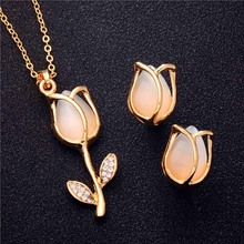 H:HYDE 5 style Fashion Gold Color Wedding Jewelry Sets For Brides Natural Opal Stone Earring and Necklace Set Women