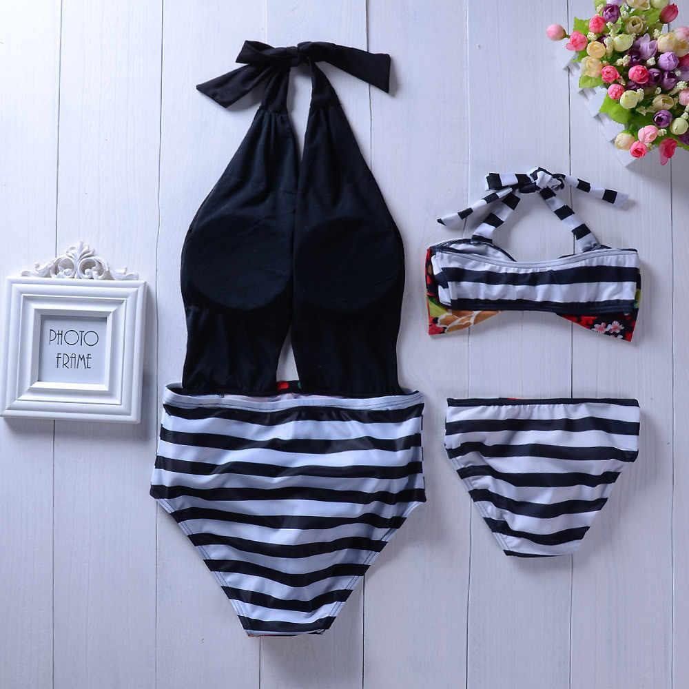 אמא בת התאמת בגדי ים מראה משפחת אמא ואותי בגדי פס משפחת התאמת בגדי ים אמא בת ים
