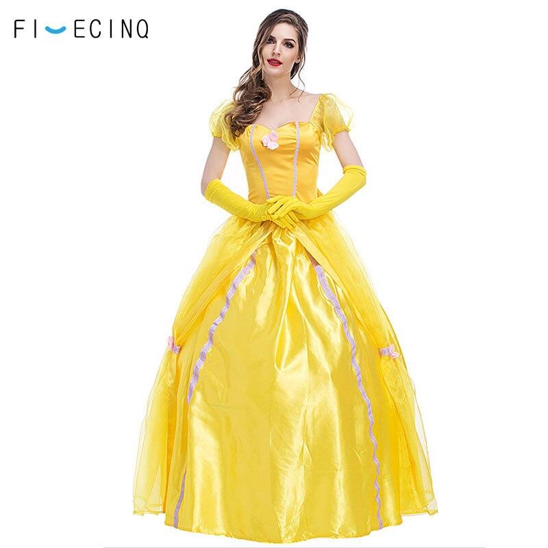 Belle Costume Adult Fairy Tale Princess Halloween Fancy Dress
