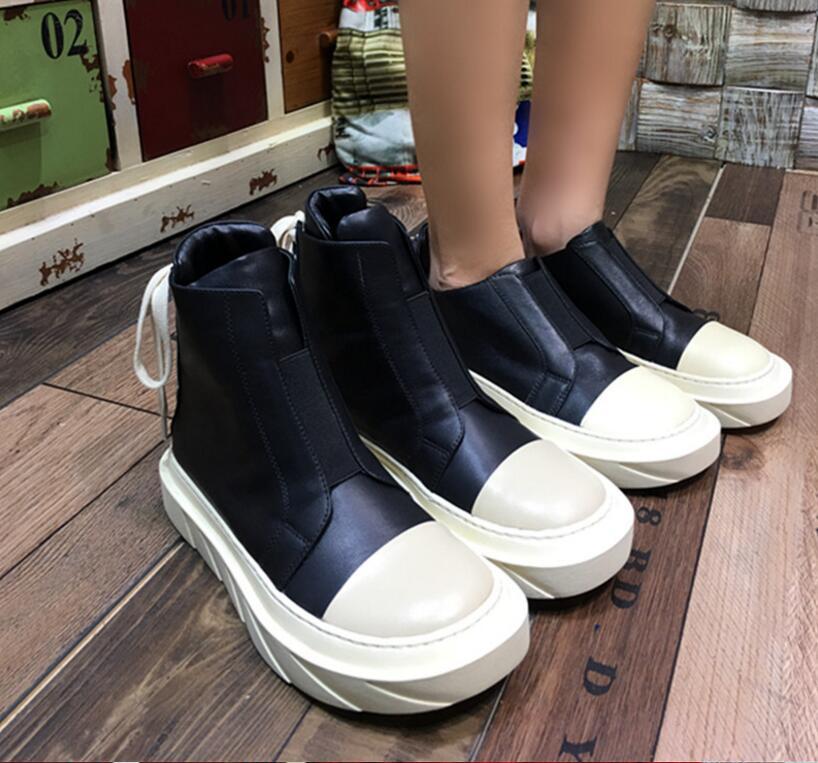 Cuir Bout Bottes Rond Femmes Haut Mode Chaude Chaussures Lacets En Véritable Noir Kaeve Baskets wpHIvzqZ