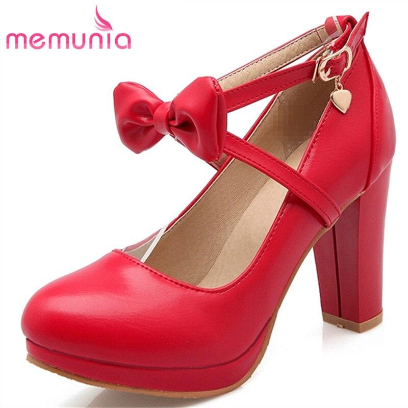MEMUNIA 2018 hot sale new arrive high heels shoes women summer pumps shoes fashion bowknot pointed toe single shoes fresh simple
