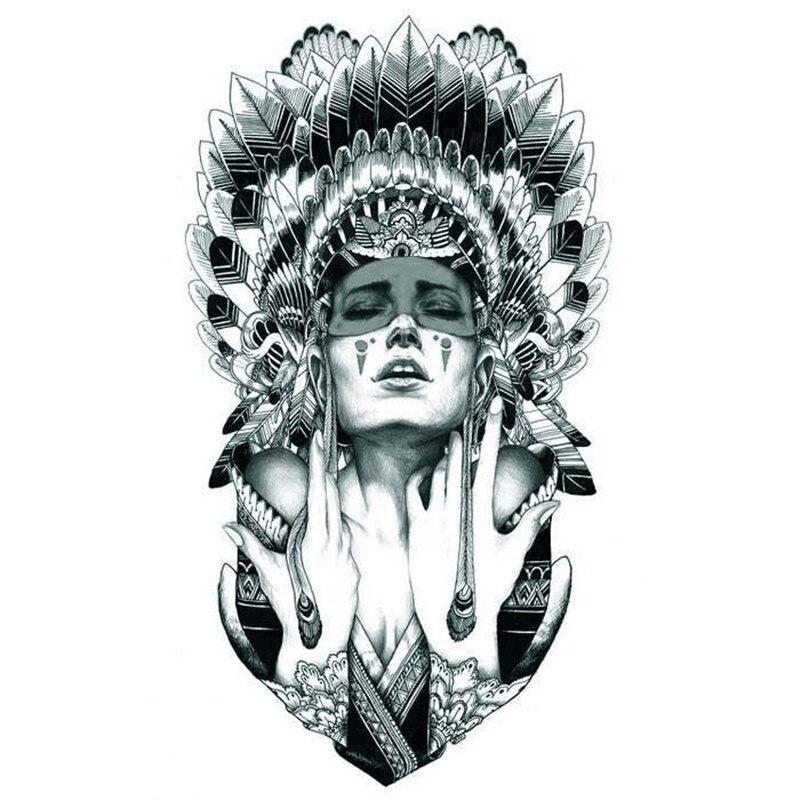 Indian Warrior Temporary Tattoo Body Art Sleeve Arm Flash Tattoo Sticker 12*20cm Waterproof Tattoo Henna Fake Tatoo Sticker AX71