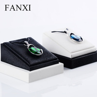 FANXI Free Shipping Fashionable Tilt Style Necklace Pendant Display Stand Prop Black PU Leather White Bottom