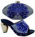 Royal azul Zapato de Italia Zapato Y Conjunto de Bolsas de Tela de Algodón de África con Bolsas de 6 Colores Calzado Italiano Con El Bolso A Juego Para El Partido (BCH11
