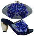 Royal blue Italy Shoe And Bag Set Cotton Fabric African Shoe With Bags 6 Colors Italian Shoe With Matching Bag For Party (BCH11