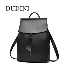 DUDINI Women Leather Backpack Small Minimalist Solid Black School Bags For Teenagers Girls Feminine Backpack sac a dos femme