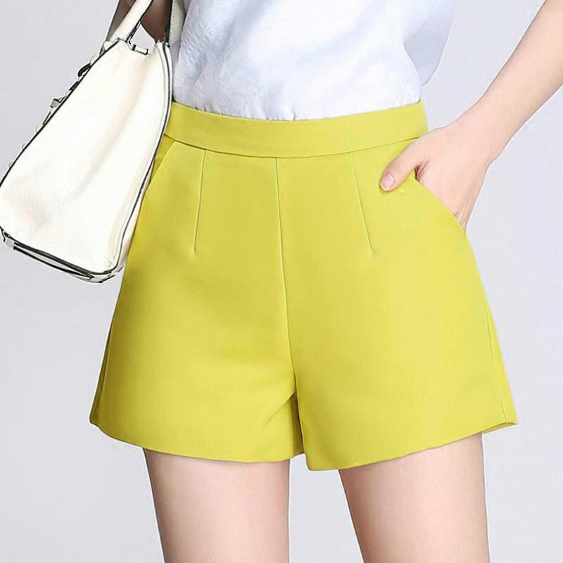 Summer Fashion Women High Waist 3xl Xxl Wide Leg Yellow Black Shorts , Casual Female Woman Spring Slim White Shorts