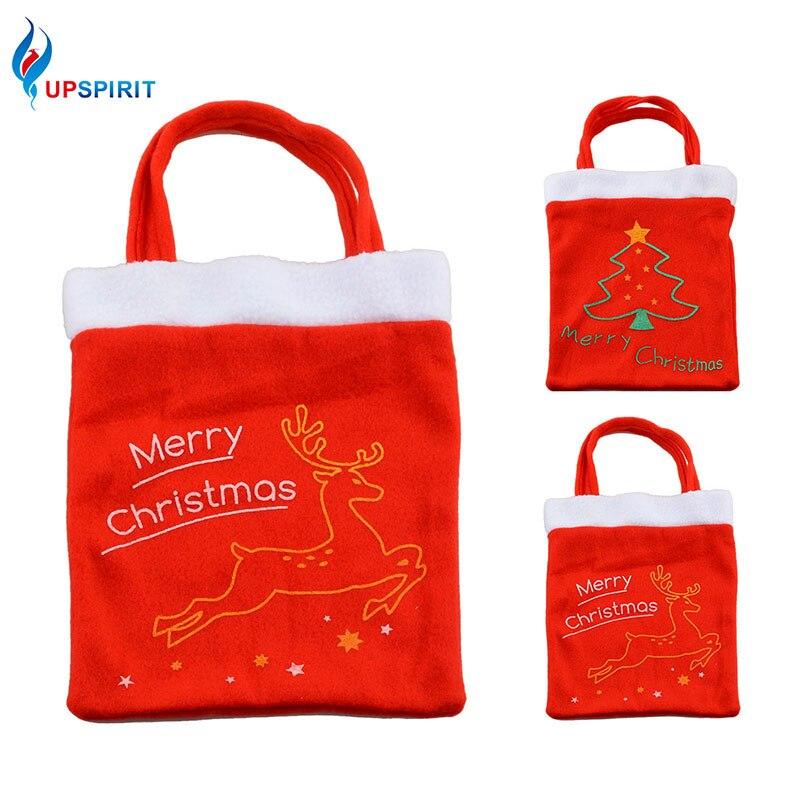 Upspirit Christmas Tree Elk Deer Pattern Storage Bag Christmas Candy Gift Bag Handbag Shopping Tote Christmas Decorating Supply