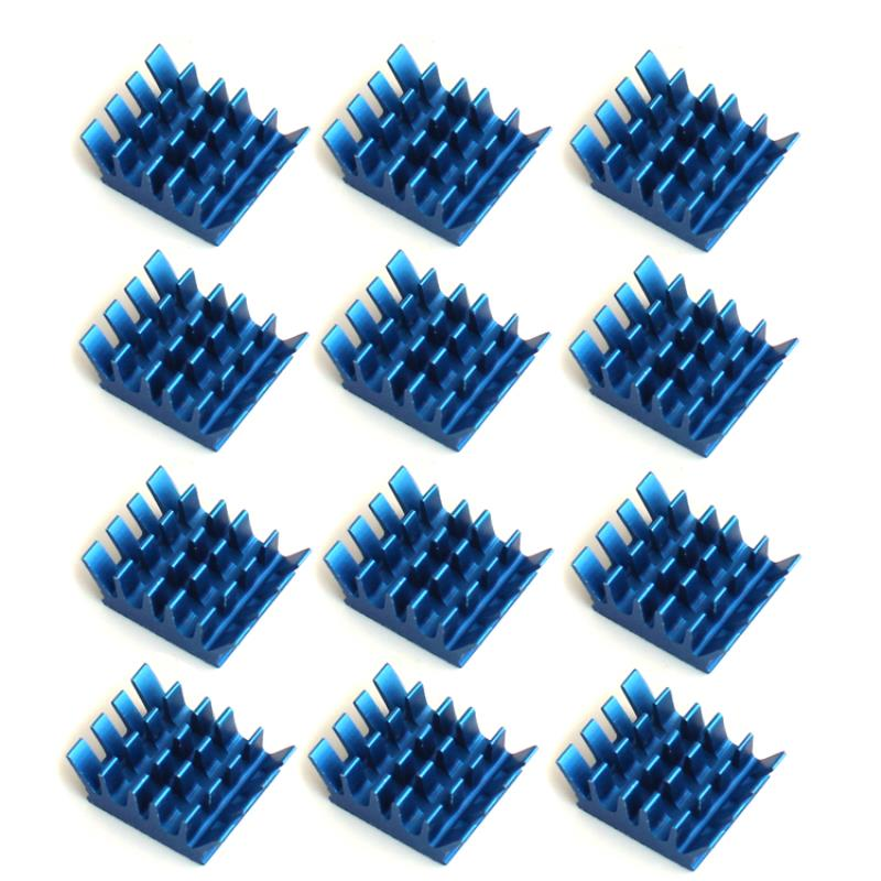 12pcs Blue Aluminum Heatsink Good Heat Dissipation Adhesive Heat Sink Tools 13*14*6mm For Memory RAM IC Chipset Mayitr 2 x b ddr ddr2 ram memory cooler heat spreader heatsink z09 drop ship