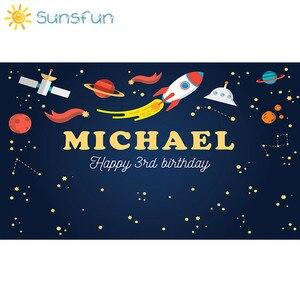 Image 4 - Sunsfun 7x5FT Trẻ Em Sinh Nhật Polyester Ngang Vũ Trụ Không Gian In Phông Nền Chụp Ảnh Cho Sơ Sinh Thả Nền