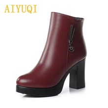 AIYUQI 2019 new genuine leather women high heel boots, platform thick wool dress designer luxury ankle boots