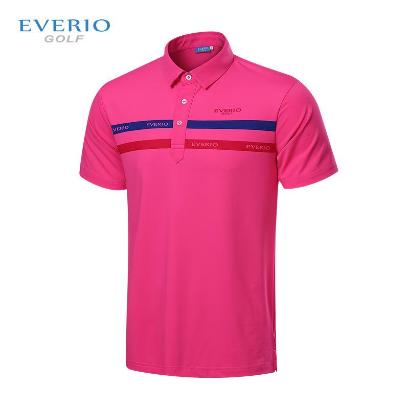 wholesale -EVERIO golf wear mens golf shirt summer short sleeved Breathable POLO shirt Quick Dry Golf Shirt