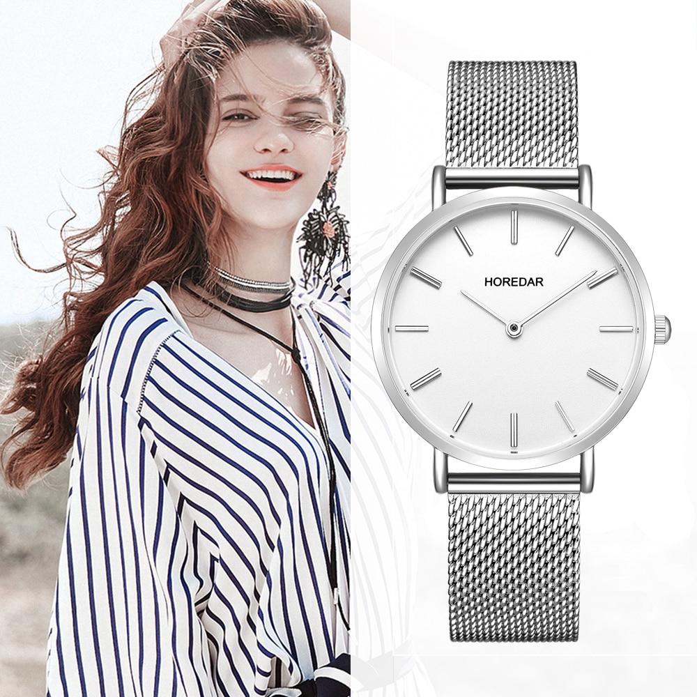 Women Watches Super Slim Ladies Quartz Wrist Watch High Quality 16mm Stainless Steel Mesh Band Wristwatch for Women Clock Girls