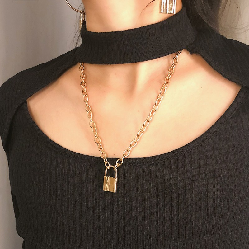 Women-Jewelry-Golden-Padlock-Pendant-Necklace-New-Big-Rolo-Cable-Chain-Necklace-Punk-Statement-Fashion-Jewelry