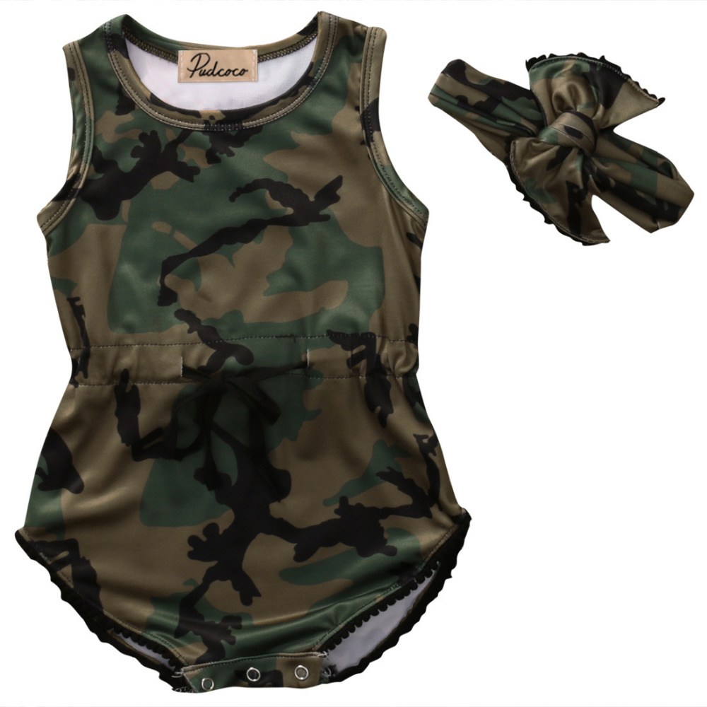 Toddler Baby Girl Clothes Summer Sleeveless Camouflage Cotton Romper Jumpsuit Headband One Pieces Baby Clothes Outfits