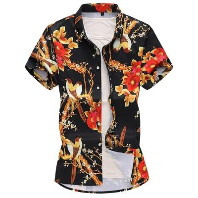 Летний модный бренд Для мужчин s рубашки Slim Fit Для мужчин с цветочным принтом Футболка с коротким рукавом Для мужчин Повседневное мужской гавайская рубашка плюс Размеры M-7XL - Цвет: 1912