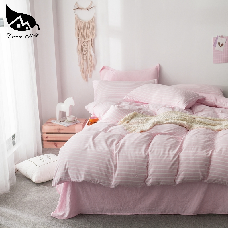 Bedding-Set Bedroom Quilt Duvet-Set/sheets Pink Cotton Pillowcase Washed Home NS Dream