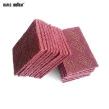 """Almofada de mão flexível não tecido, 21 peças 5 """"* 8"""" 7447 8698 7448 escocia brite para aço inoxidável metais de aço pintura de madeira polimento de plástico"""