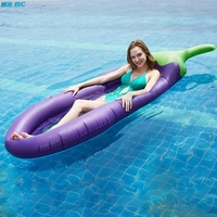Summer Water Hammock Float Lounger Inflatable Floating Bed Beach Holiday Eggplant Modeling Swimming Pool Lounge Float Bed