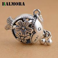 BALMORA Authentic 990 Pure Silver Cute Fish Hollow Flower Pendants Women Girl Accessories Lovely Gift Retro