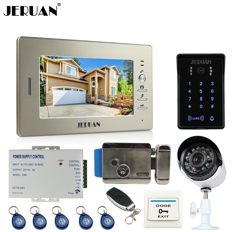 JERUAN NEW 7`` video door phone intercom System monitor waterproof Touch Key password keypad Camera+700TVL Analog Camera+lock jeruan 8 inch tft video door phone record intercom system new rfid waterproof touch key password keypad camera 8g sd card e lock