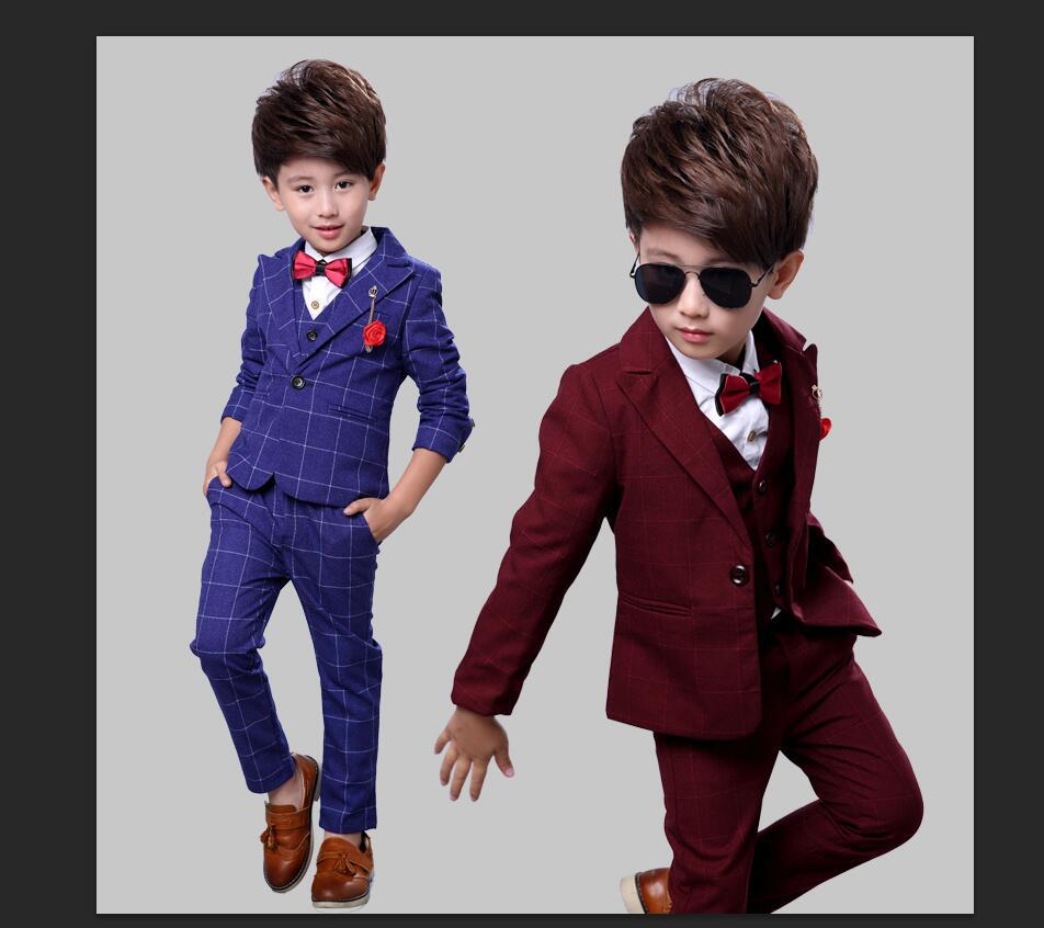 Slim And Handsome Boys costume Jacket pant vest 3parts Wedding flower Boy Dress Plaid Kid Fashion Show Blazers Suit 2 12Yrs in Clothing Sets from Mother Kids